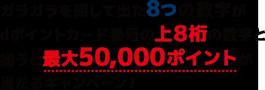 ガラガラを回して出た8つの数字がdポイントカード番号の上8桁の数字と揃うと最大50,000ポイントが当たるキャンペーン!